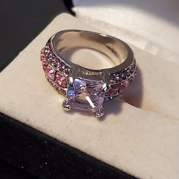 Size 6 Silver Plated Pink Sapphire Ring Rhinestone